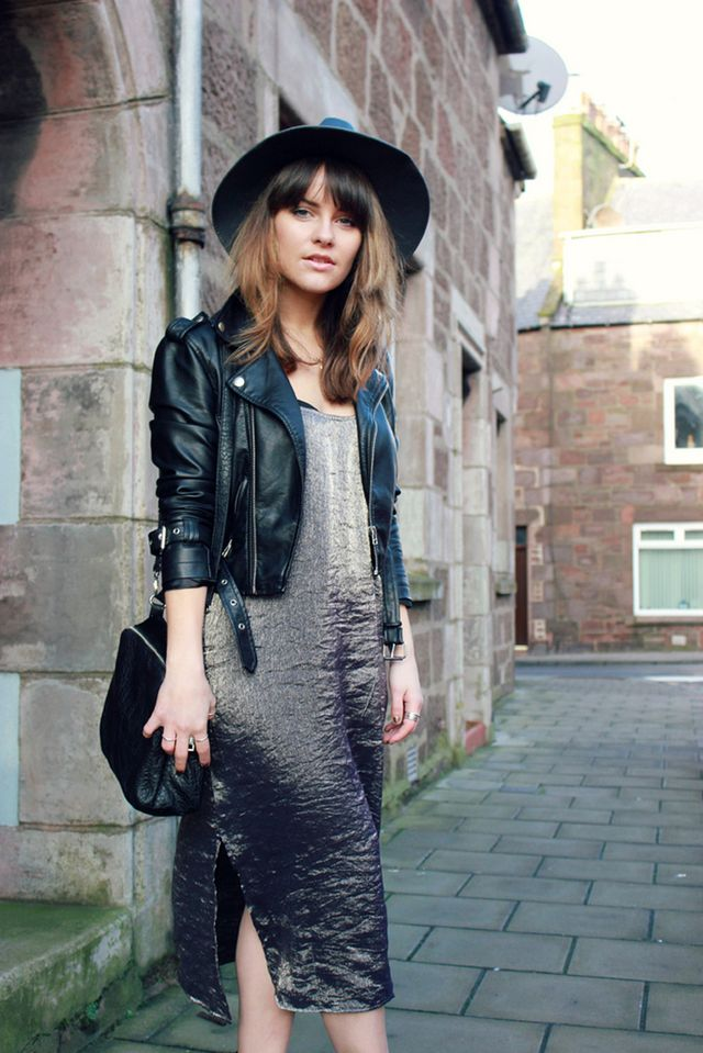 Day 28: Give a feminine dress some edge with a moto jacket.