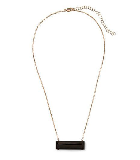 We all know black goes with everything, making this enamel pendant a sure bet.  Heather Hawkins Float Bar Necklace($150)