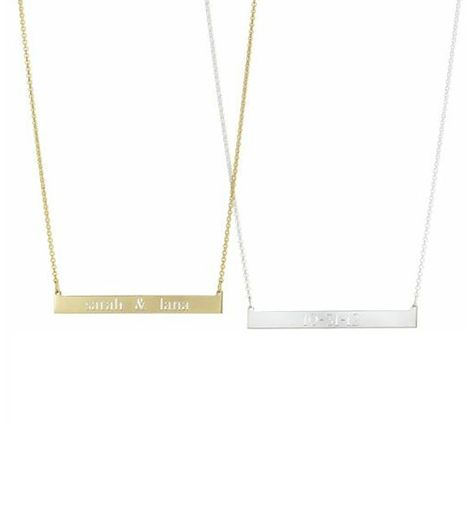 The bar necklace was practically made for personalization. Choose Sarah Chloe's in either silver or gold for a customized look.