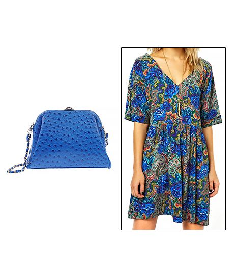 AsosSmock Dress($102) in Paisley and Floral Print    J&C Jacky and Celine Handbag ($57) in Bright Blue