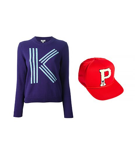 Kenzo Logo Sweater ($387) in Purple  Profound Aesthetic P Varsity Snapback Cap ($39) in Red
