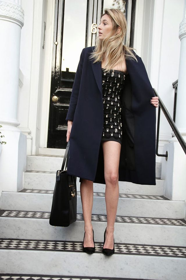 A sexy minidress is too obvious, be a lady and throw on a boyfriend coat. You'll also be grateful for it in unexpected (constant) rain showers, as Camille Charriere of Camille Over The...