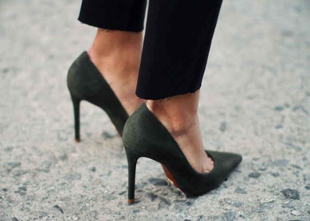 3. Lower-priced pumps look more posh in faux suede than faux leather.