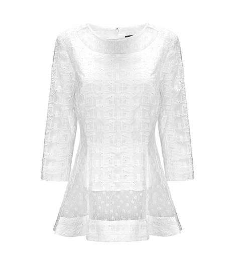 A mix of different lace patterns makes this top a standout pick.