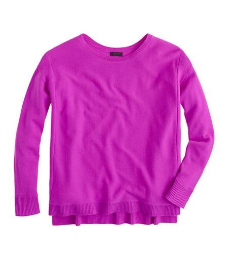 Stand out from the pack in this vibrant knit.  J.Crew Collection Cashmere Textured-Frame Sweater ($248)