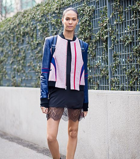 Classic couple, leather and lace, rekindle their spark thanks to a structured jacket and peekaboo skirt. 