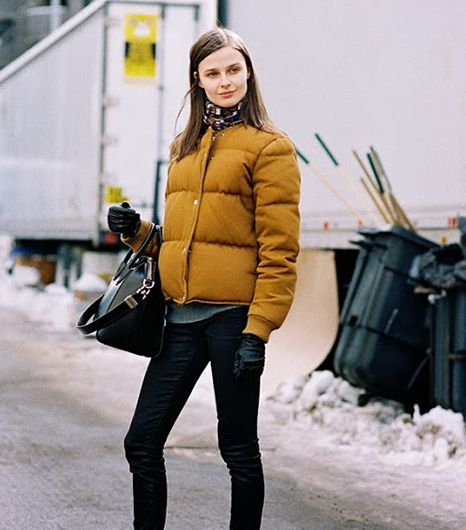 A puffer coat can be chic. Just opt for an unconventional color or print. 