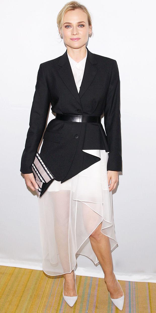 Diane Kruger Does The Belted Jacket Look For Evening