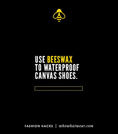 Waterproof your canvas shoes naturally by rubbing them with beeswax and then setting it with a blow-dryer.