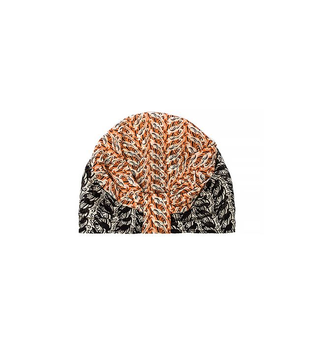 Anna Sui Parrot Print Chiffon Hat ($77) in Coral Multi 