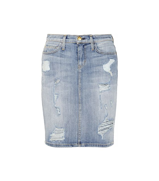 The Stiletto Distressed Stretch-Denim Pencil Skirt