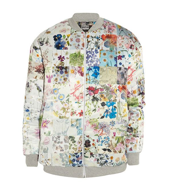 Markus Lupfer Printed Satin Bomber Jacket ($860)  What looks like a print is actually hundreds of tiny photographs of flowers. In other words: this jacket is the ultimate conversation...