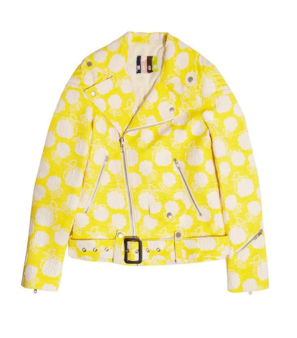 MSGM Cotton-Blend Jacquard Biker Jacket ($845)  You'd be lying if you said this cheery biker jacket doesn't put a smile on your face.