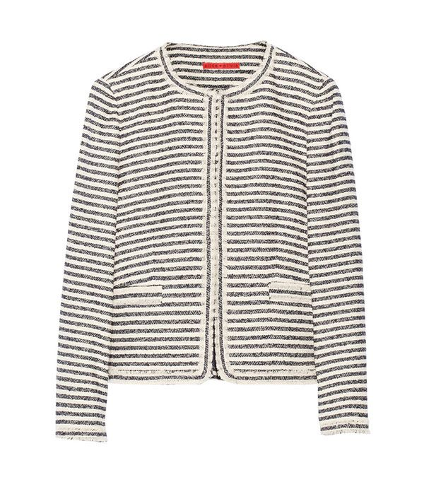Alice + Olivia Kidman Metallic Cotton-Blend Tweed Jacket ($398)  Try wearing this tweed number buttoned all the way up so it works as a top, and paired with a swingy skirt.