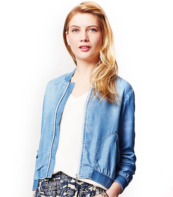 Cloth & Stone Chambray Bomber ($118)  Play up the luxe loungewear vibe of this chambray bomber with relaxed-fit trousers.