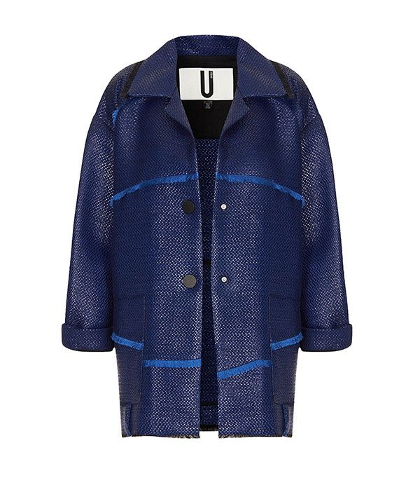 Topshop Unique Patchwork Frayed Jacket ($440)  This straight-from-the-runway pick caught our eye, thanks to the woven design and neon blue fringe.