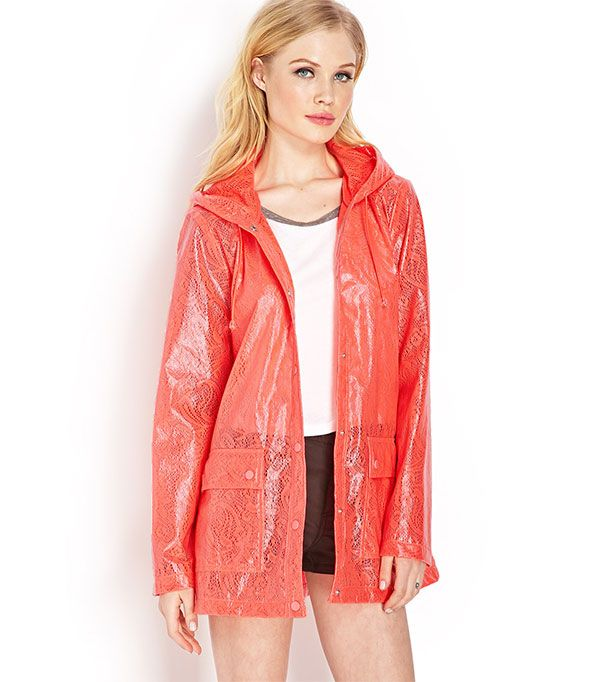 Forever 21 High-Wattage Crocheted Rain Coat ($30)  With rainy days in the spring forecast, a waterproof coat is a must.