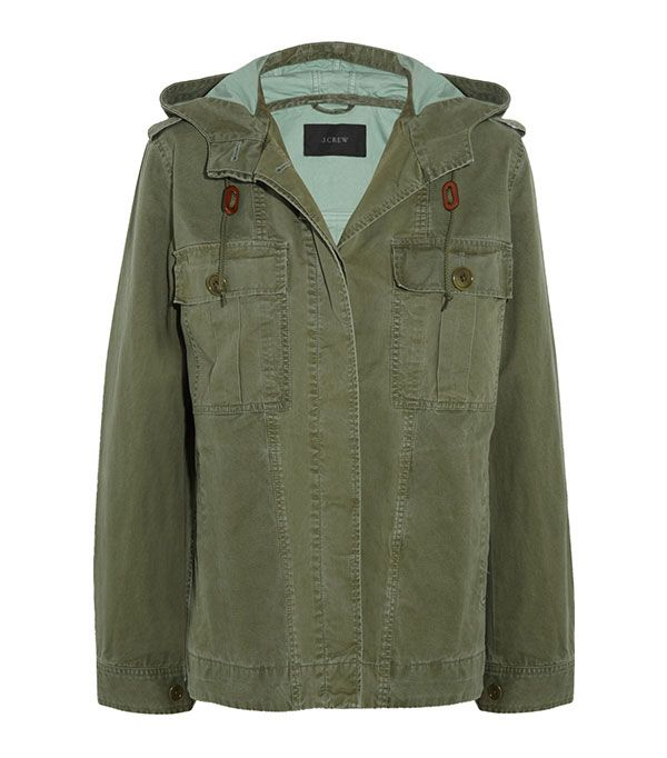 J.Crew Hooded Cotton-Twill Jacket ($140)  We love juxtaposing a sturdy military jacket with a slinky frock, as the results are unexpectedly chic.