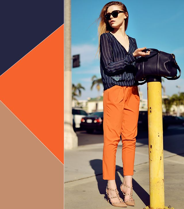 Navy + Orange + Nude