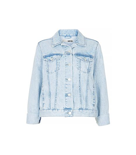 Topshop Moto Fitted Denim Jacket ($90) in Bleach Stone