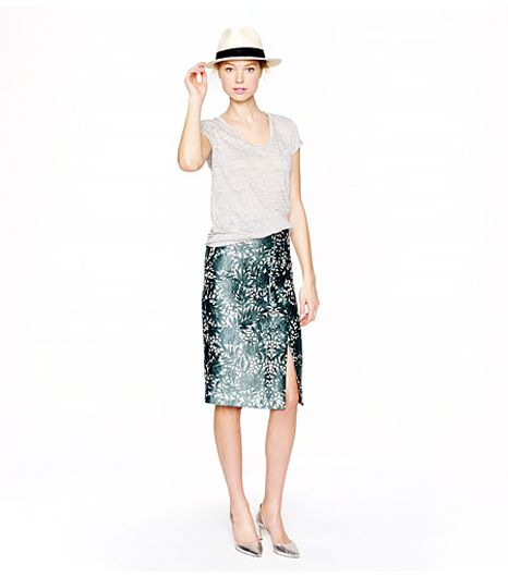 J.Crew Collection Photo Lace Pencil Wrap Skirt ($198) in Willoughby Pine 