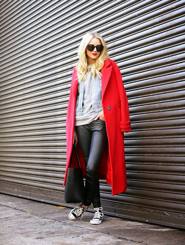 Elevate your go-to sneakers with a pair of leather-like skinny pants and a tailored coat.