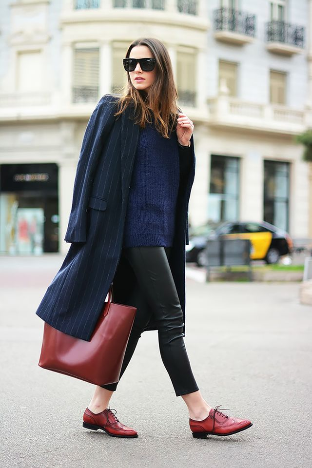 Oxford shoes are the easiest way to look pulled together without wearing a heeled shoe.  On Zina Charkoplia of Fashion Vibe: Zara coat; & Other Stories sweater, pants, and sunglasses;...