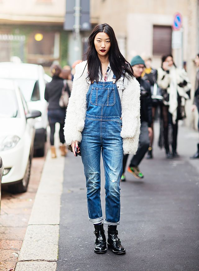 Overalls are the ultimate in comfort clothing. For a flattering effect, make sure your pair is fitted through the hips.