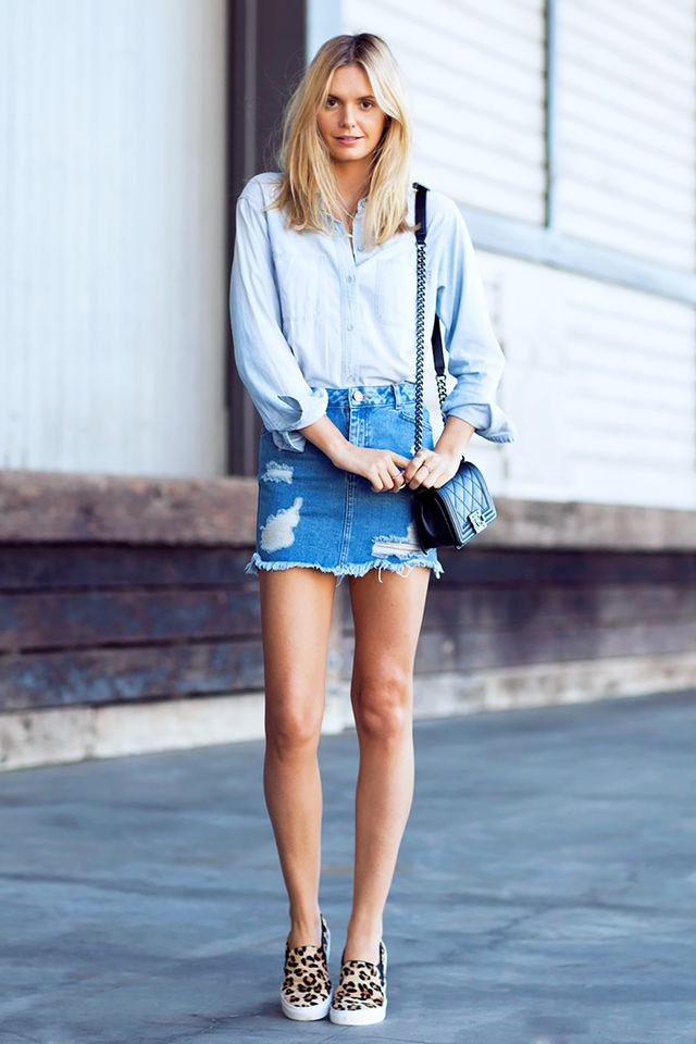 A double-denim look is perfect for your off-duty outfit, plus slip-on sneakers offer a stylish way to run errands in comfort.