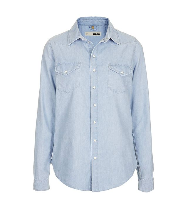 Moto Fitted Chambray Shirt