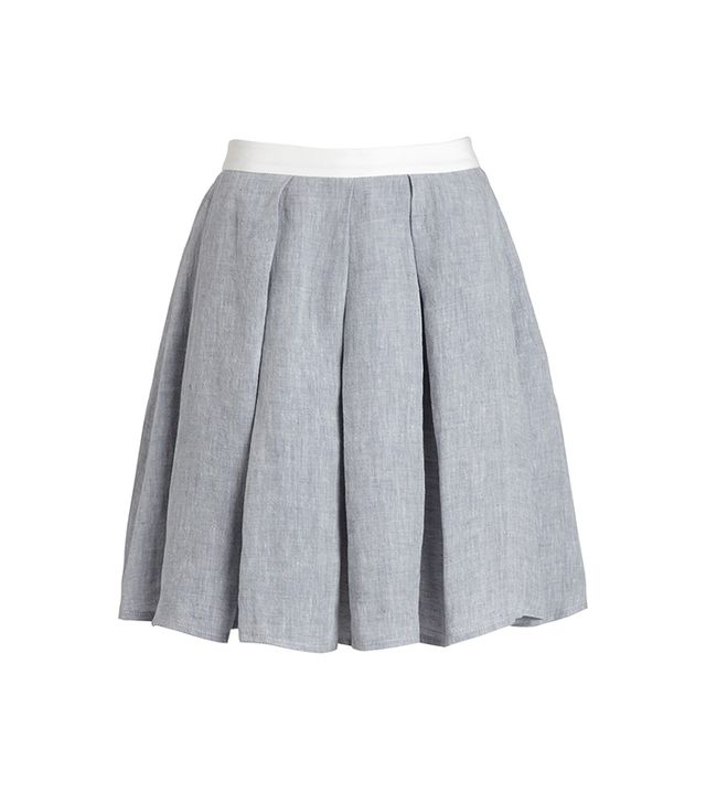 Grey Linen Pleated Alice Skirt