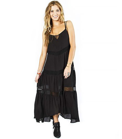 Panels of lace take this breezy maxi dress from standard to stellar.  Billabong Night Glow Dress ($70) in Black