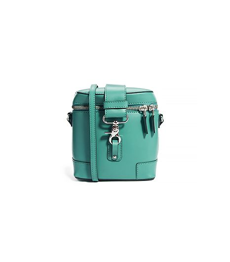 From the vibrant jade green color to the petite flask size, we're completely enamored with this cross-body bag.