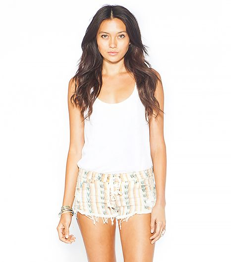Printed denim shorts with a lace-up detail? Yes, please.  Billabong Lite Hearted Bandana Denim Shorts ($50)