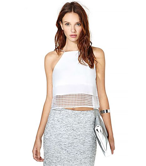 This sheer white crop top reminds us of Rag & Bone's S/S 14 runway in all the best ways.  Nasty Gal Off the Grid Crop Top ($42)