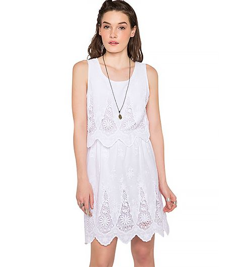 Mission accomplished: we found the perfect little white lacy dress for under $70.  Pixie Market Linda Summer Lace Dress ($62)