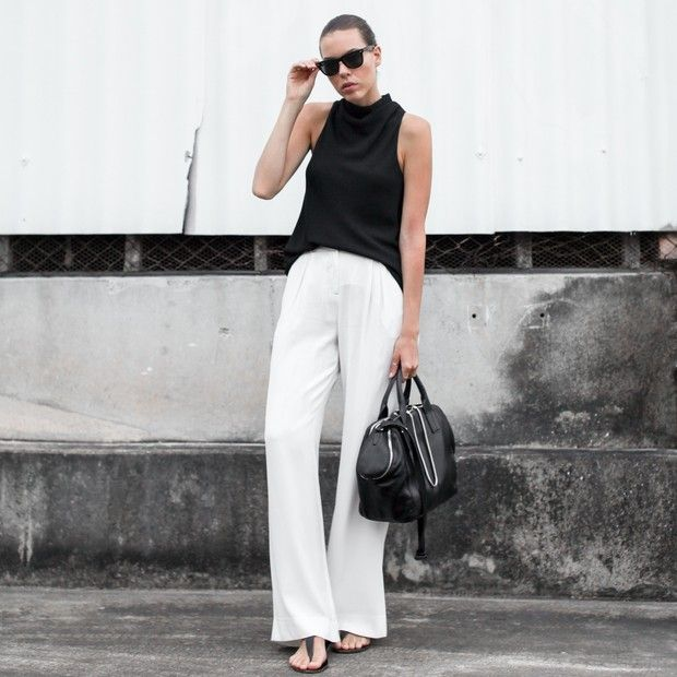 Modernlegacy is wearing: Camilla and Marc tank top, Sass & Bide pants, Alexander Wang shoulder bag, ATP sandals, Ray-Ban sunglasses.