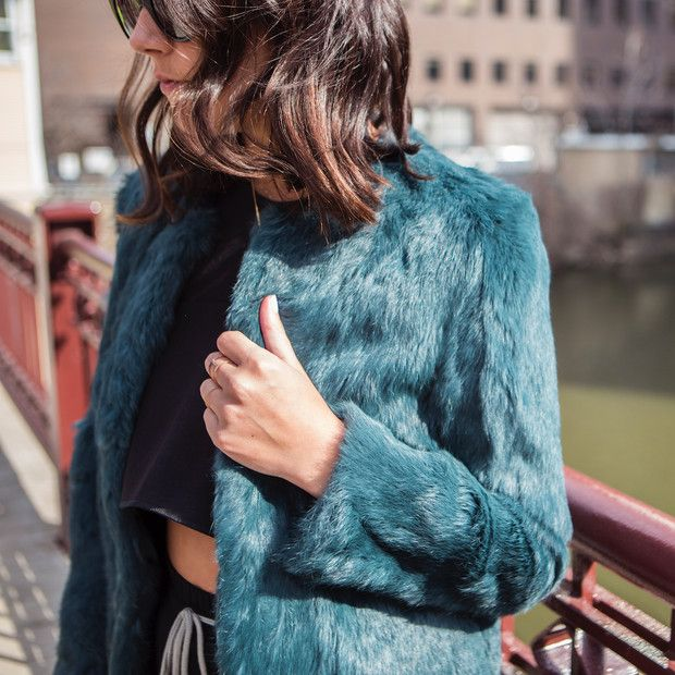 Jenagambaccini is wearing: Funktional jacket, Ellie Jay ring, Ellery shirt.  Get The Look: Mariella Burani Vintage Faux-Fur Jacket ($311)  See more ways to wear fur jackets on Pose.com.