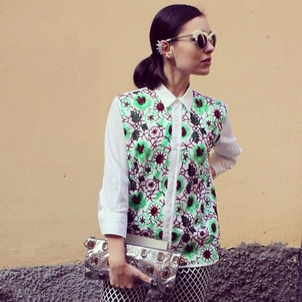 Martapozzan is wearing: Dolce & Gabbana shirt, Ryan Storer earrings, Shakuhachi sunglasses.