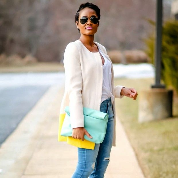Thedaileigh via Forever21 is wearing: Forever 21 shirt.  Get The Look:  Baggu Leather Clutch ($54) in Turquoise  See more ways to wear turquoise clutches on Pose.com.