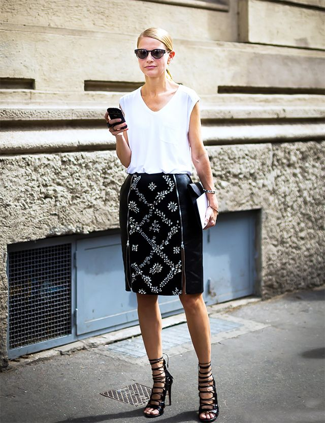 T-Shirt  + Embellished Skirt