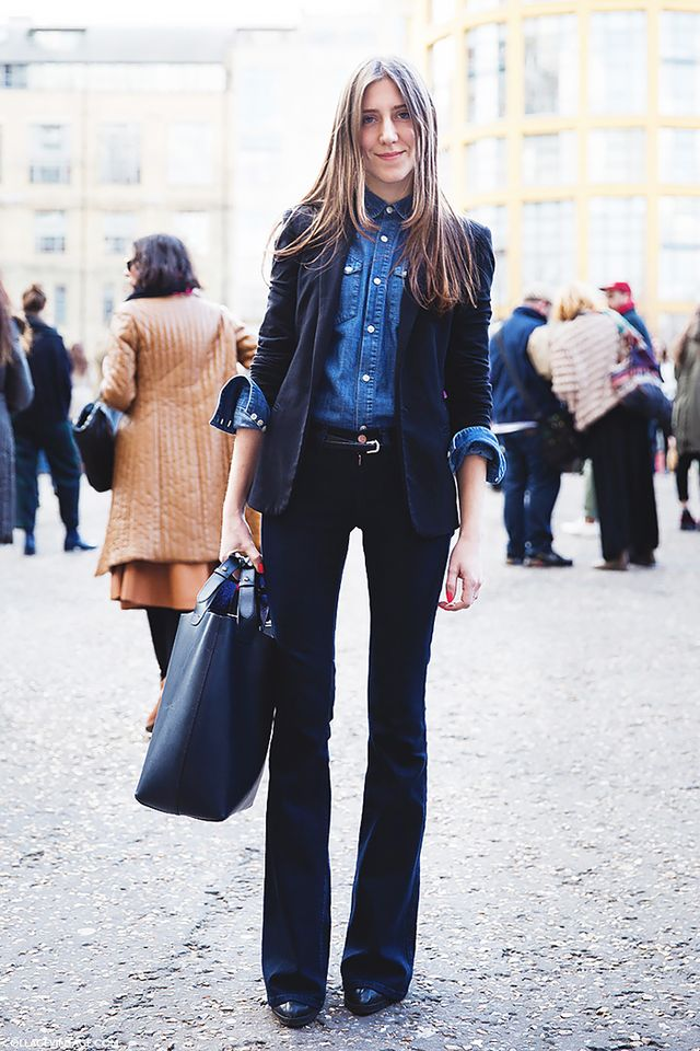 Shake up that boring old suit by wearing a denim shirt underneath, rather than a traditional button-down blouse.