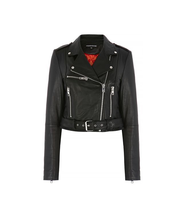 Warehouse Cropped Leather Biker Jacket ($294)
