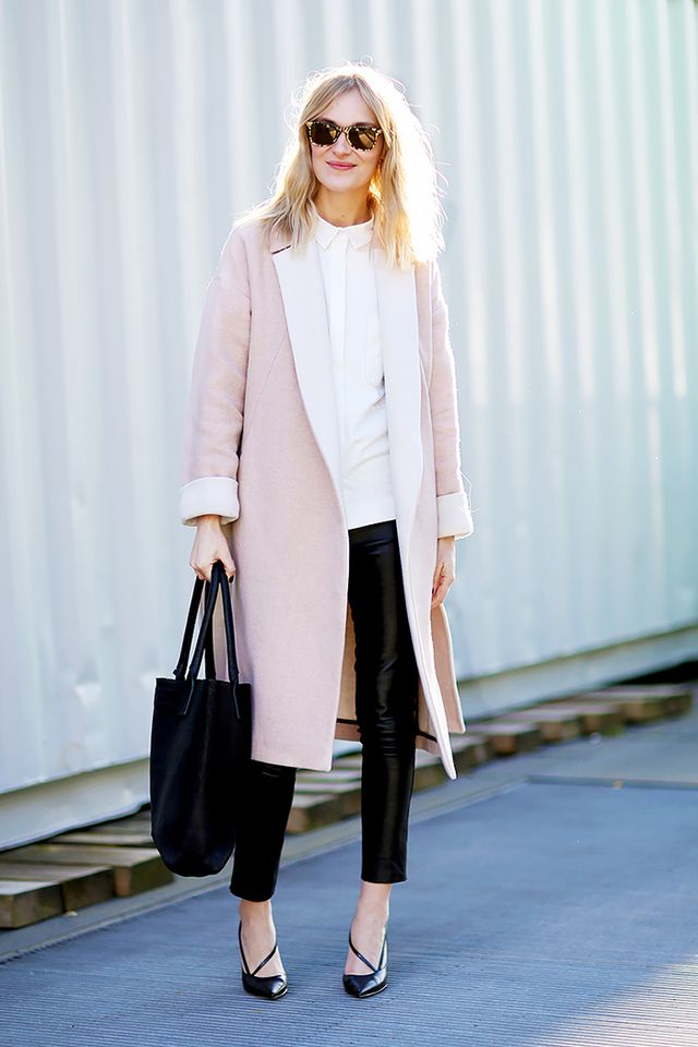 If you want to step outside the neutral box, a blush pink piece can be a welcome feminine touch. Just choose a piece with clean tailored lines to avoid looking too precious.