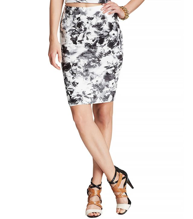 Aqua Geranium Jersey Pencil Skirt ($68)