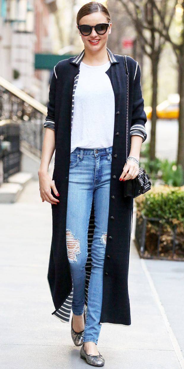 Miranda Kerr Takes Chanel's Ankle-Grazing Cardigan For A Stylish Spin
