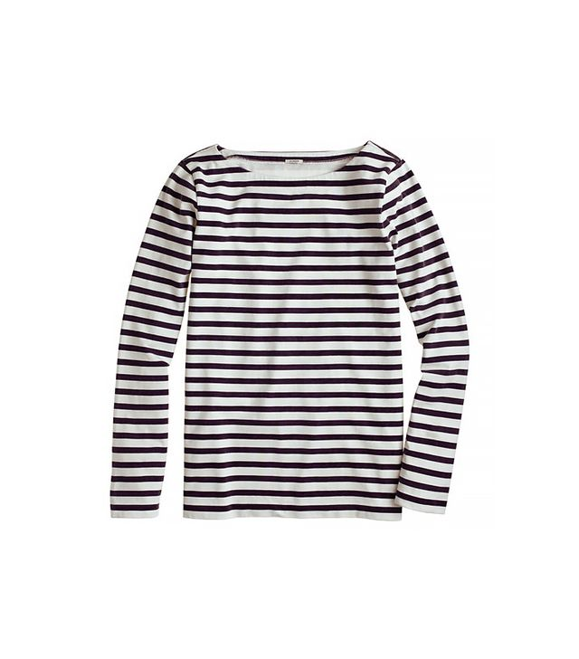 You know how to wear a striped tee for the weekend, but consider it for cocktails too, when paired with a dramatic skirt.  J.Crew Long-Sleeve Sailor-Stripe Tee ($50)