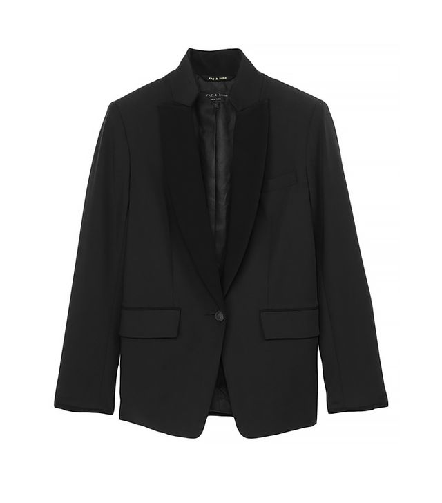 Dress up your basic office blazer by cinching it with a satin ribbon like Emmanuelle Alt.