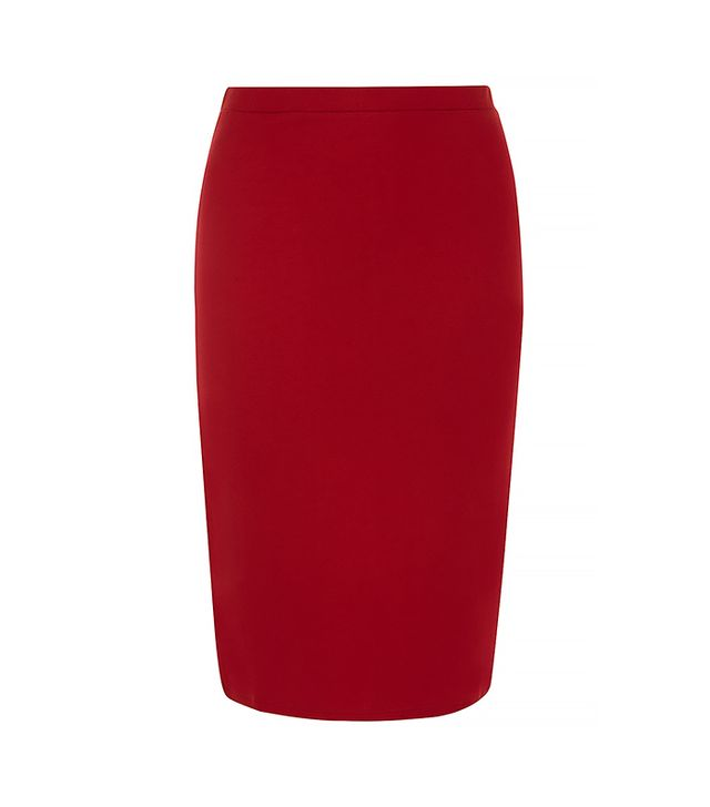 A pencil skirt and heels is the oldest trick in the book. Try it with boots for a downtown effect.  Dorothy Perkins Cherry Ponte Pencil Skirt ($20)