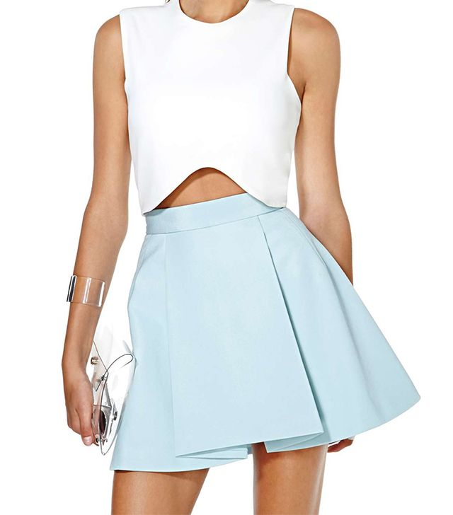There's a reason apple-shaped women gravitate to pleated skirts like this ice blue one; they create structure to camouflage the stomach.